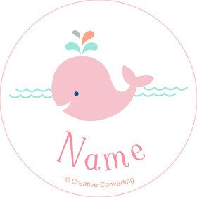 Baby Whale Pink Personalized Mini Stickers (Sheet of 24)