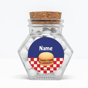 "Backyard Bbq Personalized 3"" Glass Hexagon Jars (Set of 12)"
