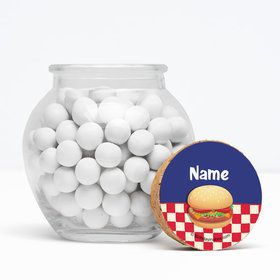 "Backyard Bbq Personalized 3"" Glass Sphere Jars (Set of 12)"