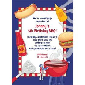 Backyard Bbq Personalized Invitation (each)