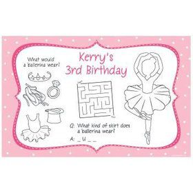 Ballet Personalized Activity Mats (8-pack)