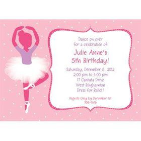 Ballet Personalized Invitation (each)