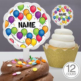 Balloon Fun Personalized Cupcake Picks (12 Count)