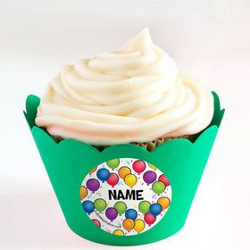 Balloon Fun Personalized Cupcake Wrappers (Set of 24)