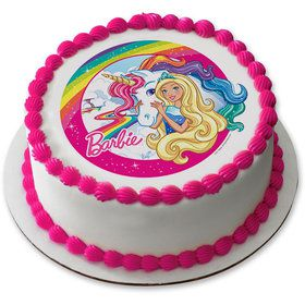 "Barbie & Unicorn 7.5"" Round Edible Cake Topper (Each)"