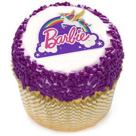 "Barbie Unicorn Rainbow 2"" Edible Cupcake Topper (12 Images)"