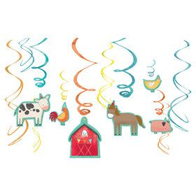 Barnyard Birthday Foil Swirl Decorations (12)