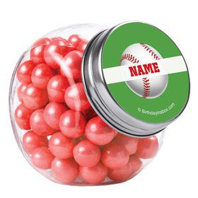 Baseball Party Personalized Plain Glass Jars (10 Count)