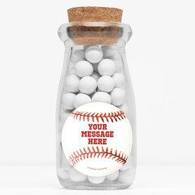 "Baseball Personalized 4"" Glass Milk Jars (Set of 12)"
