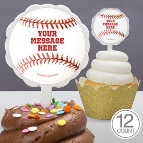 Baseball Personalized Cupcake Picks (12 Count)