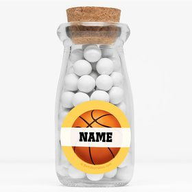 """Basketball Party Personalized 4"""" Glass Milk Jars (Set of 12)"""