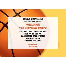 Basketball Party Personalized Invitation (each)