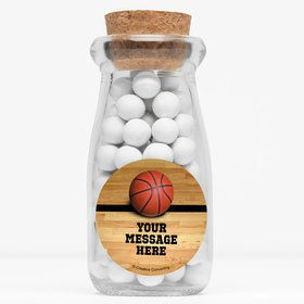 "Basketball Personalized 4"" Glass Milk Jars (Set of 12)"