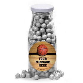 Basketball Personalized Glass Milk Bottles (12 Count)