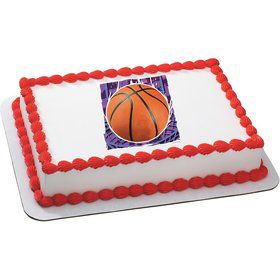 Basketball Quarter Sheet Edible Cake Topper (Each)