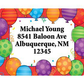 Birthday Balloons Address Labels (Sheet Of 15)