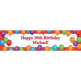 Birthday Balloons Personalized Banner (Each)