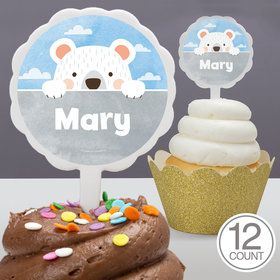 Birthday Bear Personalized Cupcake Picks (12 Count)