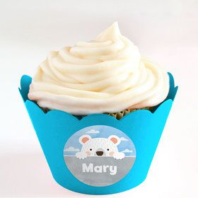 Birthday Bear Personalized Cupcake Wrappers (Set of 24)