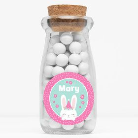 "Birthday Bunny Personalized 4"" Glass Milk Jars (Set of 12)"