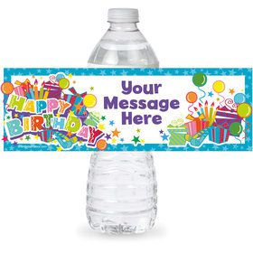Birthday Burst Personalized Bottle Label (Sheet of 4)