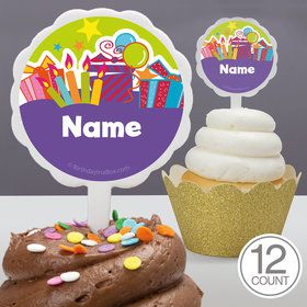 Birthday Burst Personalized Cupcake Picks (12 Count)