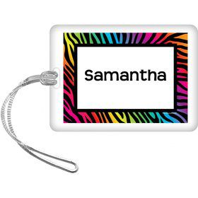 Rainbow Zebra Personalized Bag Tag