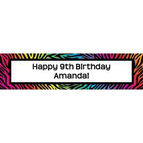 Rainbow Zebra Personalized Banner