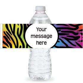 Rainbow Zebra Personalized Bottle Labe