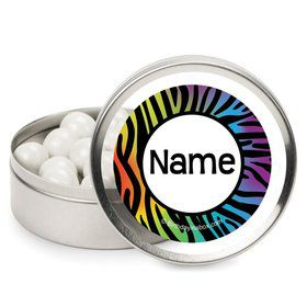 Rainbow Zebra Personalized Candy Tins