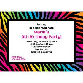 Rainbow Zebra Personalized Invitation