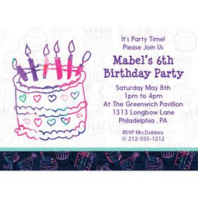 Birthday Doodle Personalized Invitation (Each)