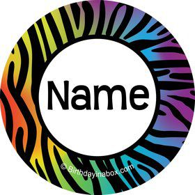 Rainbow Zebra Personalized Mini Sticke