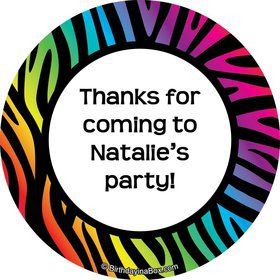 Rainbow Zebra Personalized Stickers