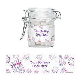 Birthday Doodle Personalized Swing Top Apothecary Jars (12 ct)