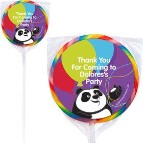 Birthday Panda Personalized Lollipops (12 Pack)