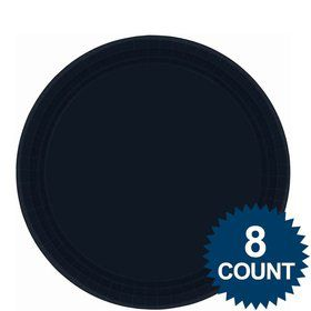 "Black 9"" Paper Luncheon Plates (8 Pack)"