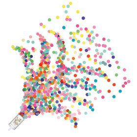 Black and Silver Push Up Confetti Poppers(8 Pack)