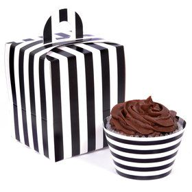 Black and White Striped Cupcake Wrapper Box Kit