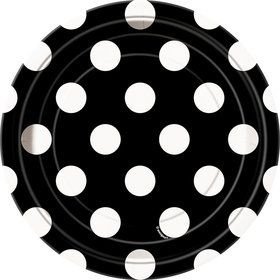 "Black Dots 7"" Cake Plates (8 Pack)"