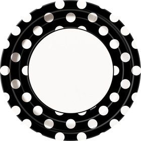 "Black Dots 9"" Luncheon Plates (8 Pack)"