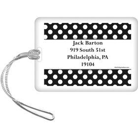 Black Dots Personalized Bag Tag (Each)