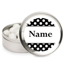 Black Dots Personalized Candy Tins (12 Pack)