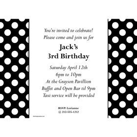 Black Dots Personalized Invitation (Each)