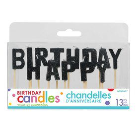 Black Glitter Happy Birthday Candles