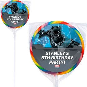 "Black Panther Personalized 3"" Lollipops (12 Pack)"