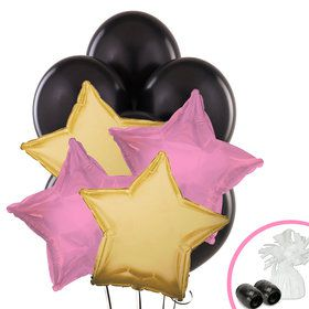 Black Pink and Gold Balloon Bouquet