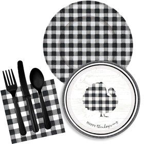 Black & White Check Thanksgiving Tableware kit for 8
