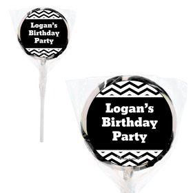 Black White Chevron Personalized 2#34; Lollipops (20 Pack)