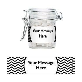 Black/White Chevron Personalized Glass Apothecary Jars (12 Count)